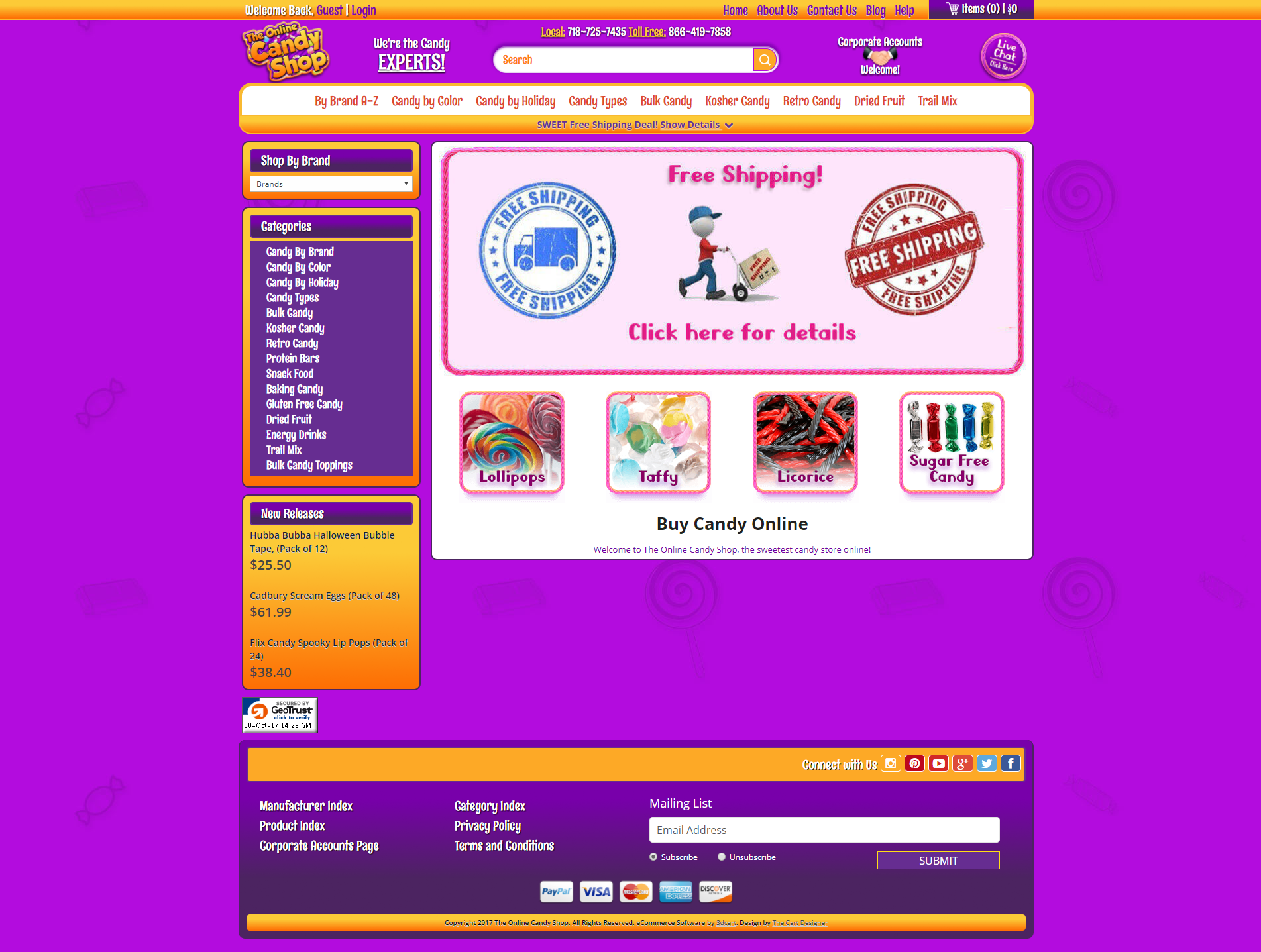 Free online store design templates 3dcart the candy shop pronofoot35fo Image collections