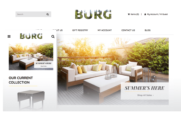 furniture website theme
