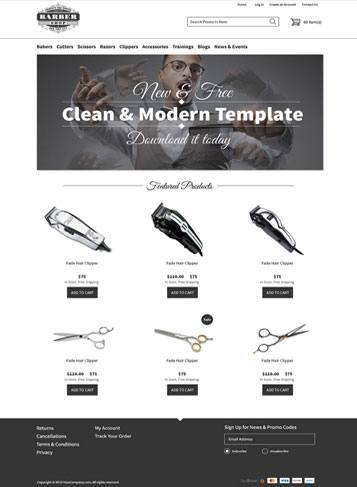 front sample picture Barber Responsive Theme   #5 of 20 FREE Professionally Designed Themes from 3dCart