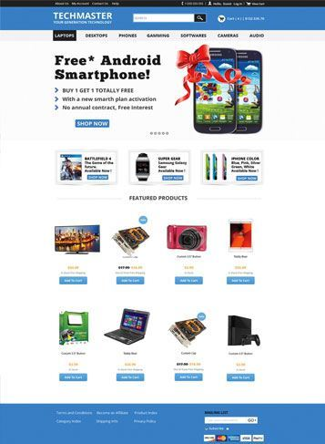 front sample picture Techmaster Responsive Theme   #6 of 20 FREE Professionally Designed Themes from 3dCart