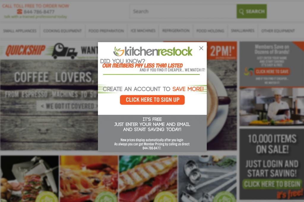 Example of modal on kitchen restock website